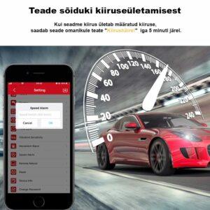 Mini GPS jälgija võimaldab saata teate sõiduki kiiruseületamisest